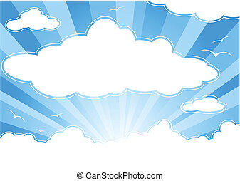 ensoleillé, rayons soleil, nuages, ciel