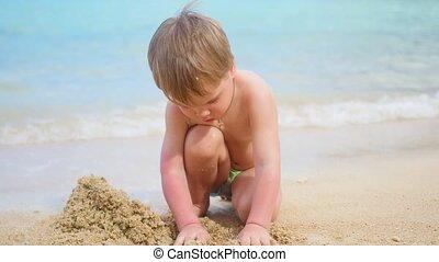 ensoleillé, sable, jouer, chaud, enfant, plage, jour