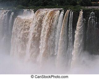 ensoleillé, tôt, iguassu, chutes d'eau, plus grand, earth., jour, morning.