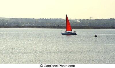 ensoleillé, temps, yacht, mer