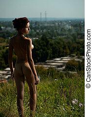 ensomhed, ind, den, city., urban scene, hos, nøgne, pige