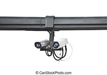 ensures, appareil-photo sécurité, monté, sur, a, poteau, blanc, fond