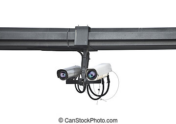 ensures security camera mounted on a pole on white background