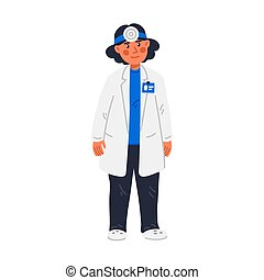 ENT or ORL. Woman - otolaryngologist. ORL-H and N specialist doctor in medical gown. Examination of ear, nose, throat. Flat style vector illustration on white background