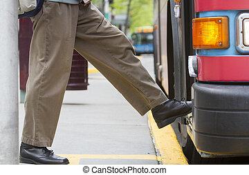 entablado, autobús