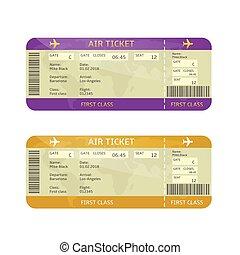 entablado, boletos, línea aérea, pase