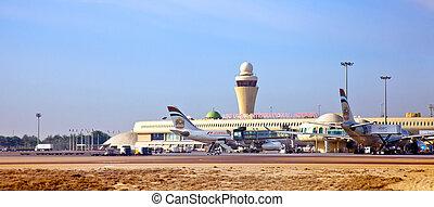 entablado, dhabi, dos, abu, aviones, listo, aeropuerto...