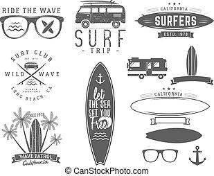 entablado, diseño, print., playa, vector, tablista, design., sello, logotipo, badge., tabla de surf, tela, verano, gráficos, symbols., o, emblemas, oleaje, vendimia, surf, estilo, waves., elementos, hipster, conjunto, insignia