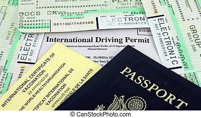 entablado, documentos, certificado, conducción, vacunación, ...