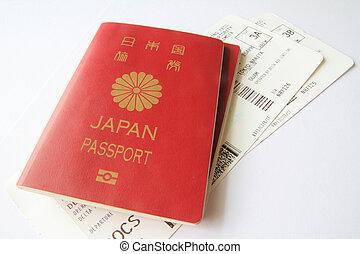entablado, japonés, pasaporte, pase