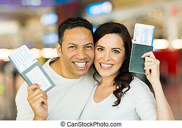 entablado, pareja, pasaporte, tenencia, pase
