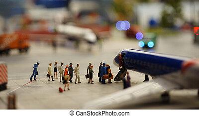 entablado, pasajeros