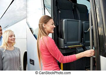 entablado, pasajeros, grupo, autobús, viaje, feliz
