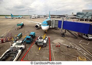 entablado, pasajeros, servicio, tube., airliner, irreal,...