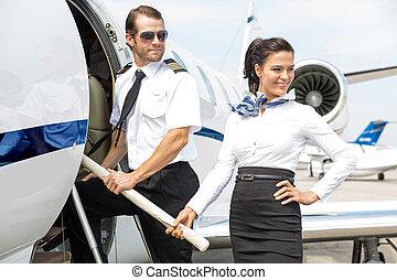 entablado, piloto, chorro privado, airhostess