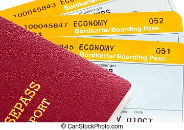 entablado, tarjetas, pasaporte