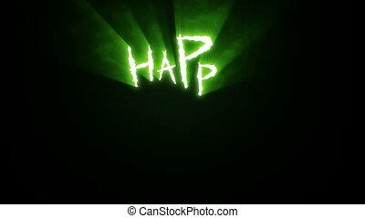 entailles, griffe, halloween, vert, heureux
