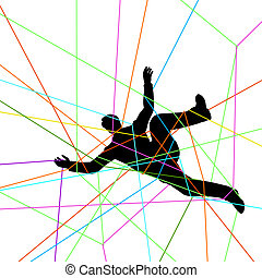 Entangled - Editable vector illustration of a man entangled...