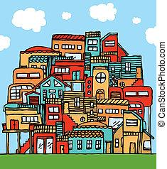 entassé, dessin animé, communauté, /, maisons