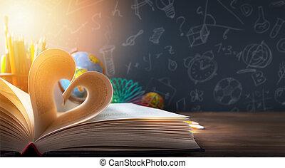 entdeckung, zurück, schule, kunst, background;, bildung