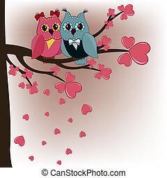 entendre, hiboux, amants, arbre, deux