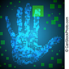 Enter Access Code using the fingerprint. Eps 10. Used effect transparency layers of square elements