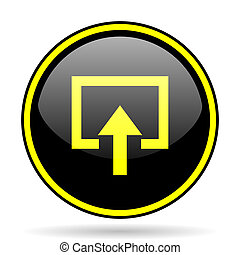 enter black and yellow glossy internet icon