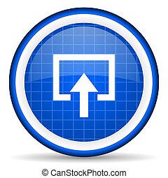 enter blue glossy icon on white background