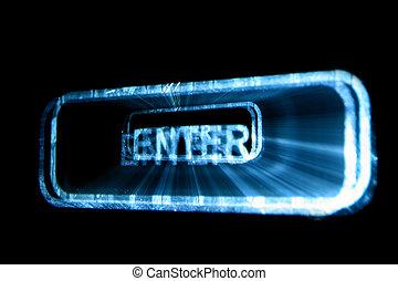 enter button abstract macro close up