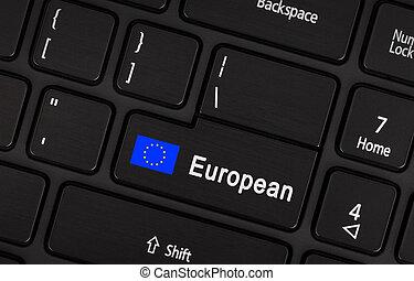 Enter button with flag EU - Concept of language