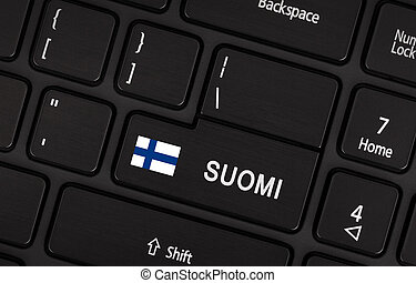 Enter button with flag Finland - Concept of language