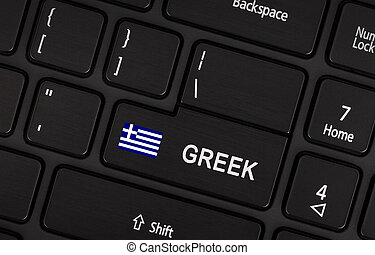 Enter button with flag Greece- Concept of language