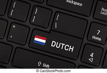 Enter button with flag Netherlands - Concept of language