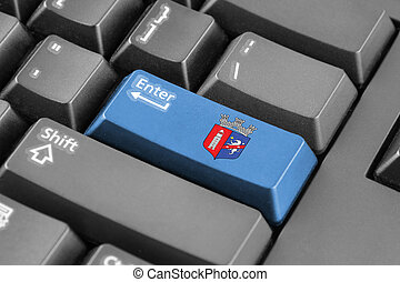Enter button with Flag of Tirana