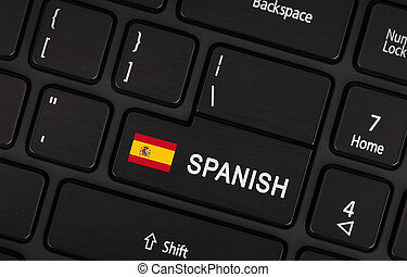 Enter button with flag Spain - Concept of language