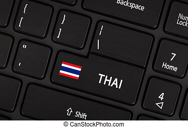 Enter button with flag Thailand - Concept of language