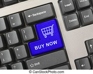 enter - Computer keyboard with blue shopping key - internet...