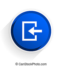 enter flat icon with shadow on white background, blue modern design web element