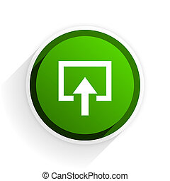 enter flat icon with shadow on white background, green modern design web element