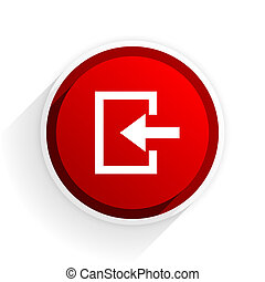 enter flat icon with shadow on white background, red modern design web element