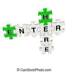 Enter here 3d puzzle on white background