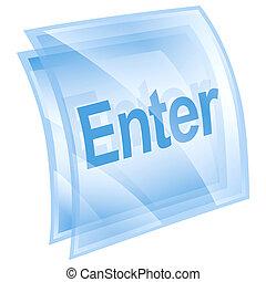 Enter icon blue, isolated on white background
