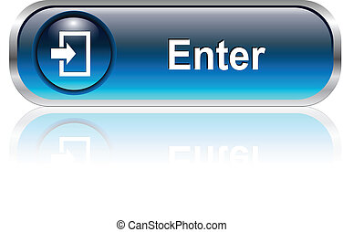 Enter button, icon blue glossy with shadow, vector illustration