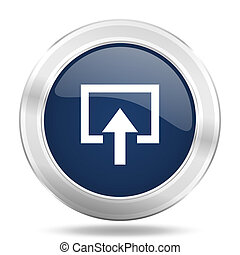 enter icon, dark blue round metallic internet button, web and mobile app illustration