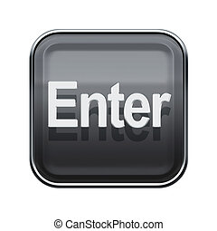 Enter icon glossy grey, isolated on white background