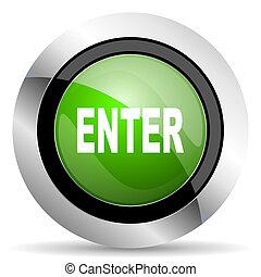 enter icon, green button