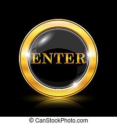 Enter icon - Golden shiny icon on black background -...