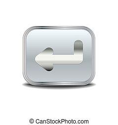 Enter icon ,vector metal button