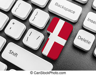 Enter key button with Flag of Denmark.