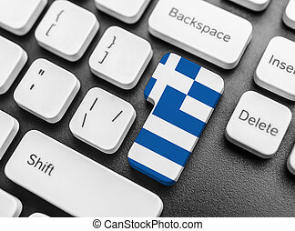 Enter key button with Flag of Greece.